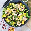 Salade crevettes (entre autres) et vinaigrette passion
