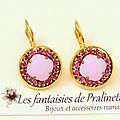 bijoux-mariage-soiree-temoin-cortege-boucles-d-oreilles-Aline-strass-et-cristal-rose-alabaster-et-rose-foncé