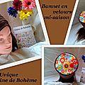 Bonnet velours flowers