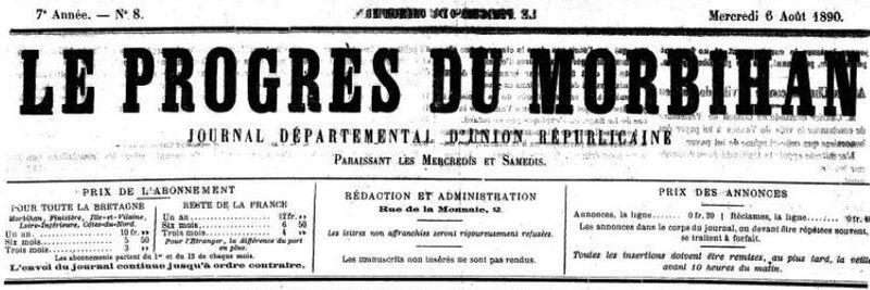 Presse Le Progrès du Morbihan 1890_1