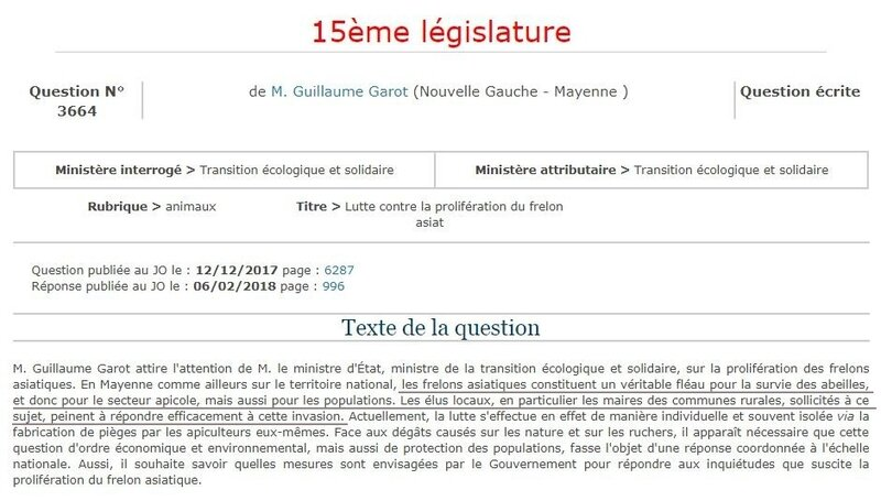 Frelon asiatique question 3664 à l'assemblée nationale