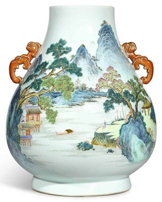 A finely painted and extremely rare large famille-rose 'landscape' vase, hu, Seal mark and period of Qianlong (1736-1795)