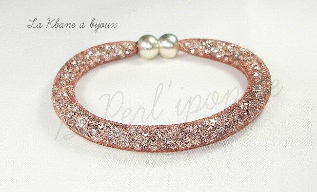 bracelet poussières d'étoiles brun large 8 mm 2eme photo