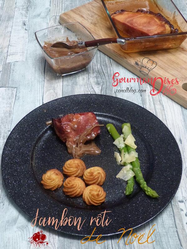 Jambon rôti de Noel - sauce worch jus de volaille jus d'orange cannelle etoile badjane (6)