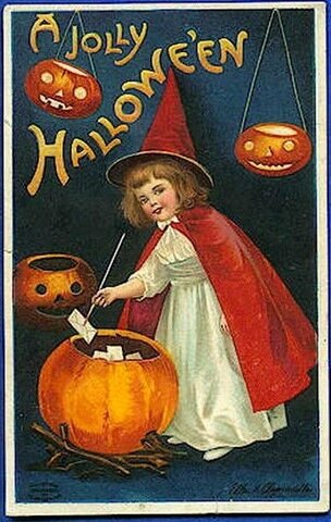halloween-little-girl-witch-red-cape-hat-pumpkins-card1
