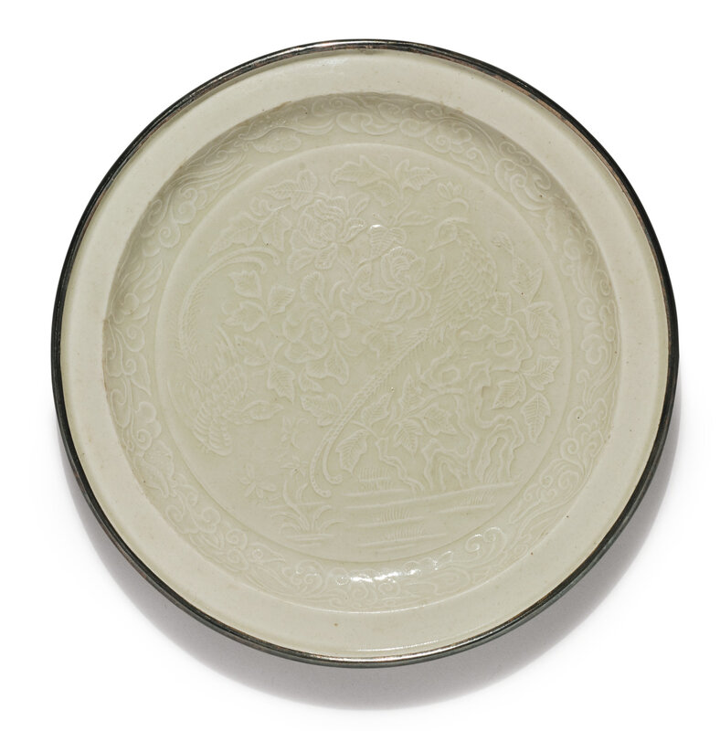 A molded 'Ding' 'Pheasant' dish, Northern Song-Jin dynasty (960-1234)