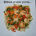 Mafaldines aux crevettes tigrées, poivrons et gingembre