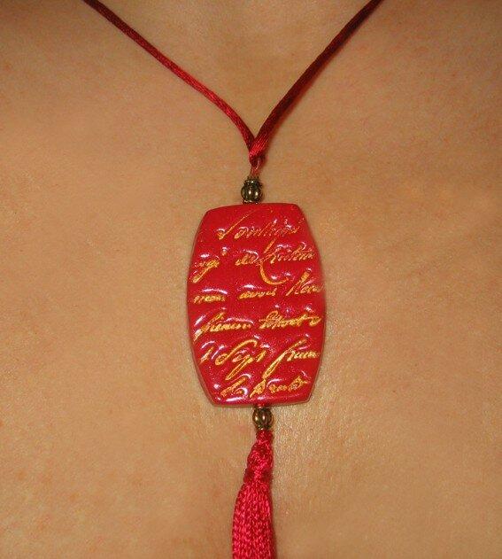 Sautoir avec pendentif fimo rouge