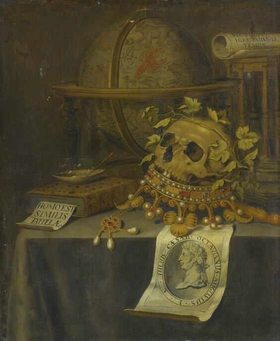 Edwaert Collier, A vanitas still life with a skull