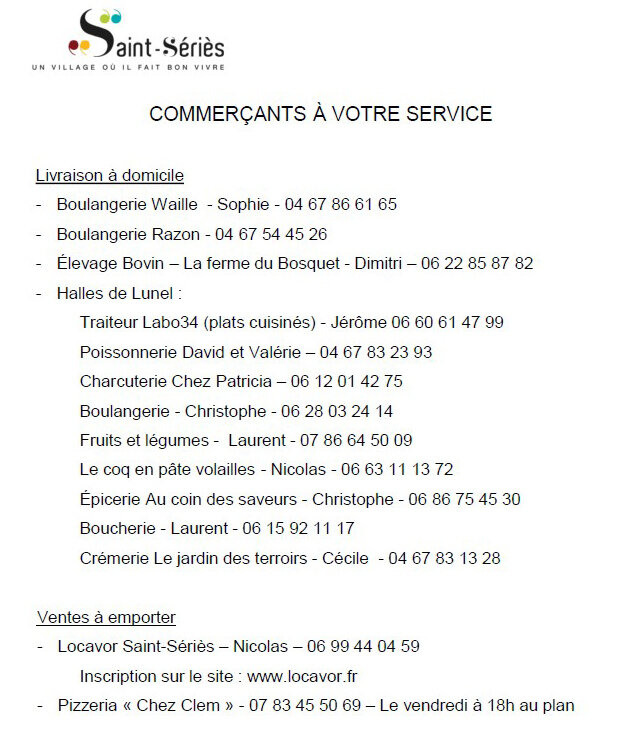 liste commerçants