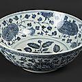 Large bol en porcelaine à décor en bleu sous couverte, Epoque Ming