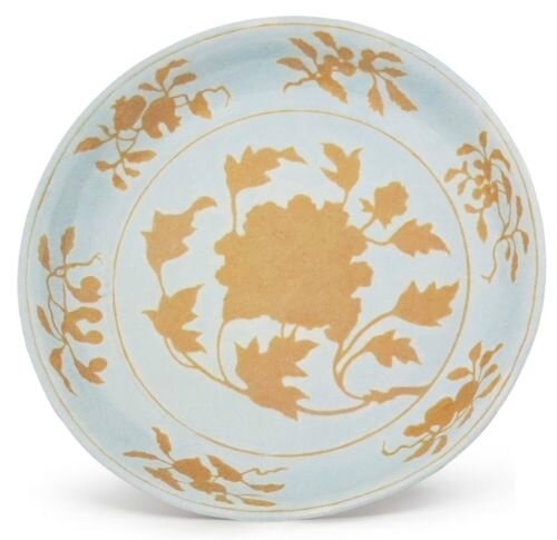 A large brown and white 'peony' dish, Xuande mark and period