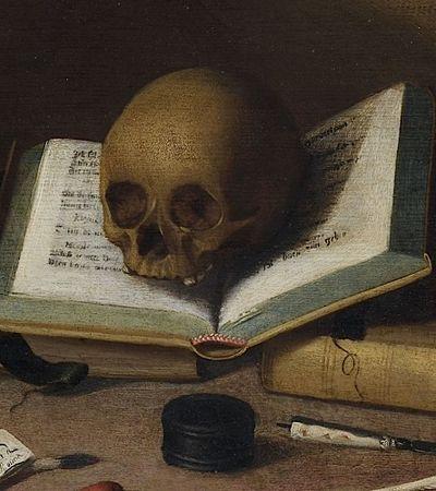 Attribué à Charles-Emmanuel BIZET (Malines, 1633 - Breda, 1691), Nature morte aux livres et au crâne (détail)