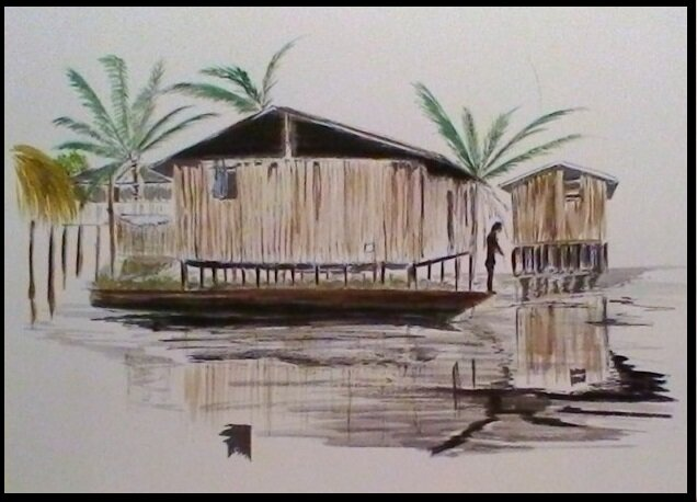 Hand written drawing ink and aquarelle Benin 1993