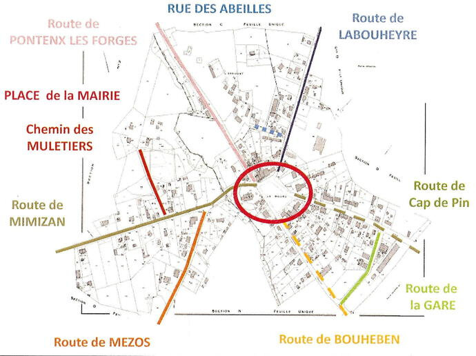 Photo-plan-rues-bourg_Escource-Landes