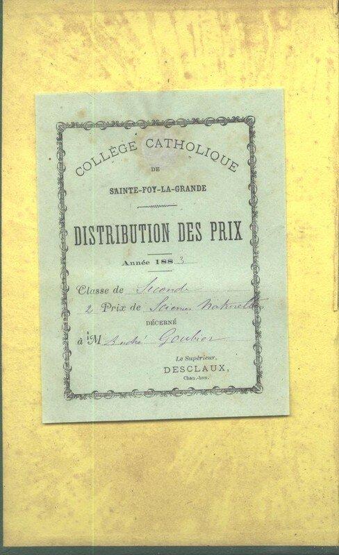 2e pris de Sciences Naturelles décerné à André Goubier en 1883.