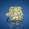 A 40.57 carats fancy intense yellow diamond and diamond ring