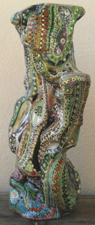 Hervé THAREL SCHMIMBLOCK'S kameleon 2013 - gouache T7 sur argile 21cmx9cm (1)
