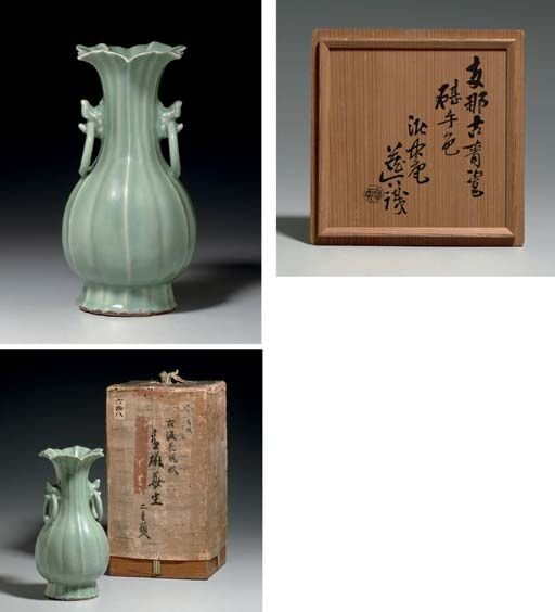 A_very_rare_Longquan_celadon_fluted_pear_shaped_vase__Song_Yuan_dynasty__12th_14th_century