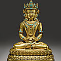 A gilt copper alloy figure of amitayus, tibet, 15th-16th century