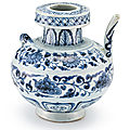 An unusual blue and white 'prawn and flower' ewer, yuan dynasty, 14th century