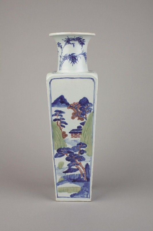Chinese Imperial Porcelain Blue And White Underglaze Copper Red And Celadon Vase Six Character