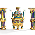 A rare imperial champlevé and cloisonné enamel gilt-bronze archaistic three-piece altar set, qianlong period