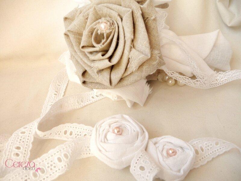 headband et bracelet mariage champêtre chic bucolique lin dentelle broderie anglaise fleur lin blanc ajustable cereza deco 7