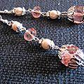 B.o. pendantes chaine & perles vieux rose
