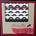 33. rouge, kraft et noir - moustaches et ruban à pois