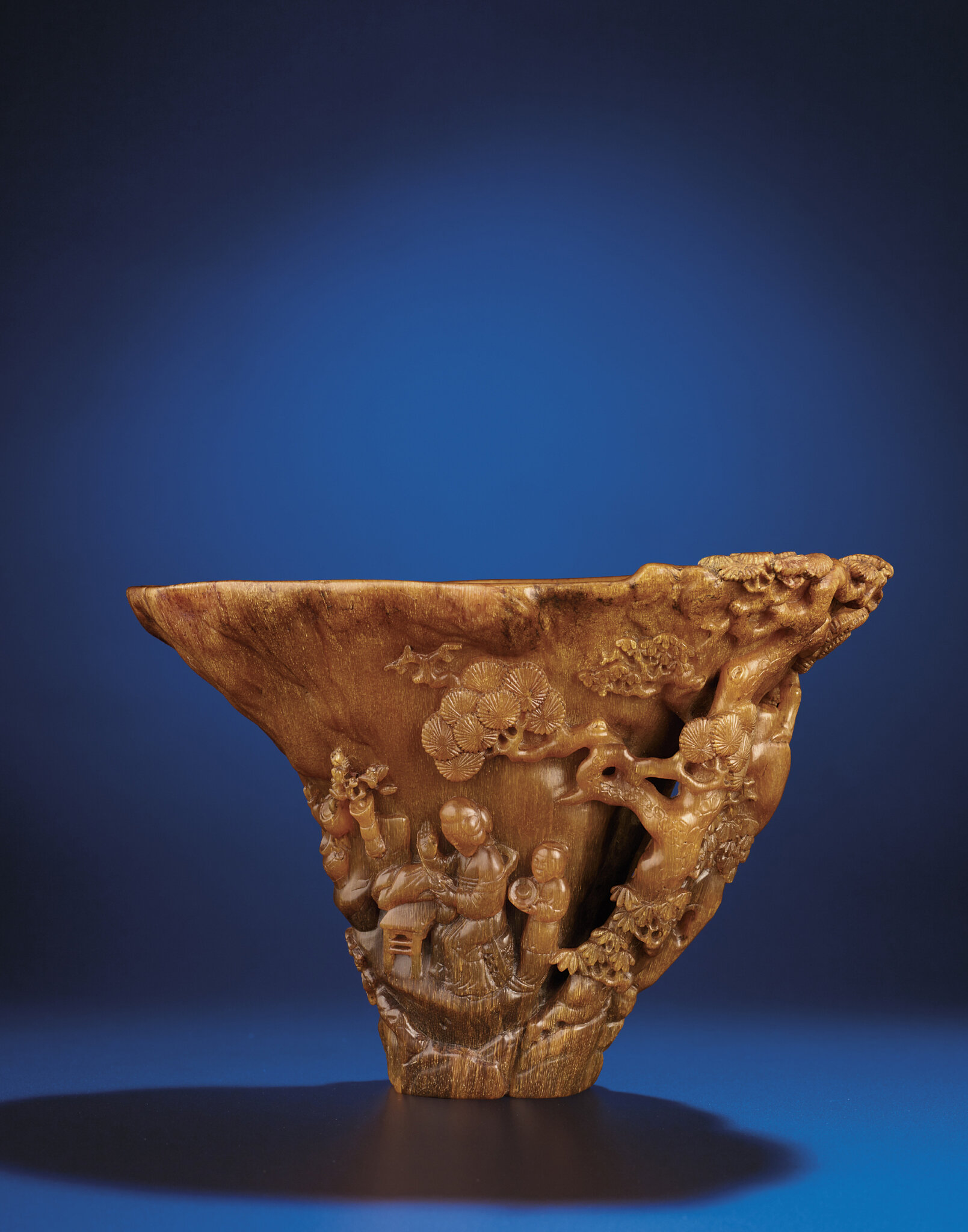 A rare carved rhinoceros horn libation cup, Qing dynasty, 18th century
