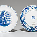 A pair of blue and white 'three friends' dishes, daoguang seal marks in underglaze blue and of the period (1821-1850)