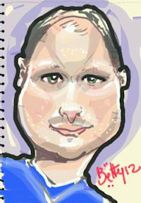 caricature tablette numerique homme