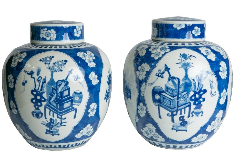 A Pair of Blue and White Chinese Ginger Jars Qing Dynasty Mid 19th Century_v2(1)