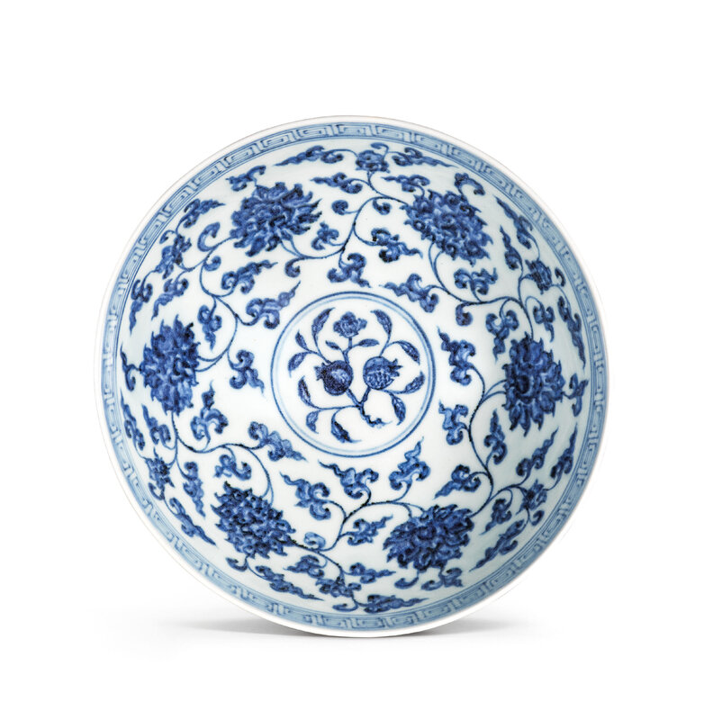 A fine blue and white 'lotus' bowl, lianzi wan, Xuande six-character mark in underglaze blue within a double circle and of the period (1426-1435)
