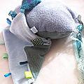 doudou étiquette bleu anne bhc-1