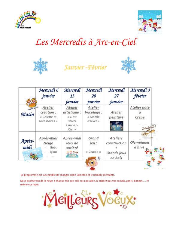 Arc-en-ciel : programme vacances de Février