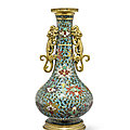 A cloisonné enamel and gilt bronze double-handled vase, jingtai mark, the vase 16th century, the mounts possibly 17th century