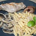 Cuisse de lapin aux ognon et champignons