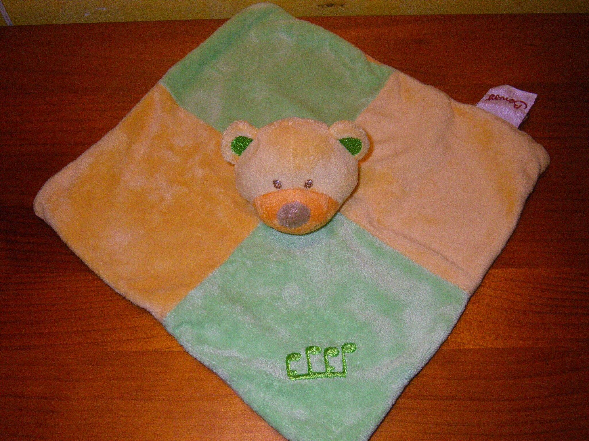 ours marque Bengy, doudou plat vert et jaune