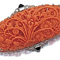 Art deco coral brooch, circa 1920