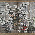Clusters of chrysanthemum on silver, rinpa school, edo period (1615-1868), late 18th-early 19th century