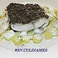 Bar sauvage au beurre d'algues,pommes de terre à l ail des ours,emulsion de crustacés
