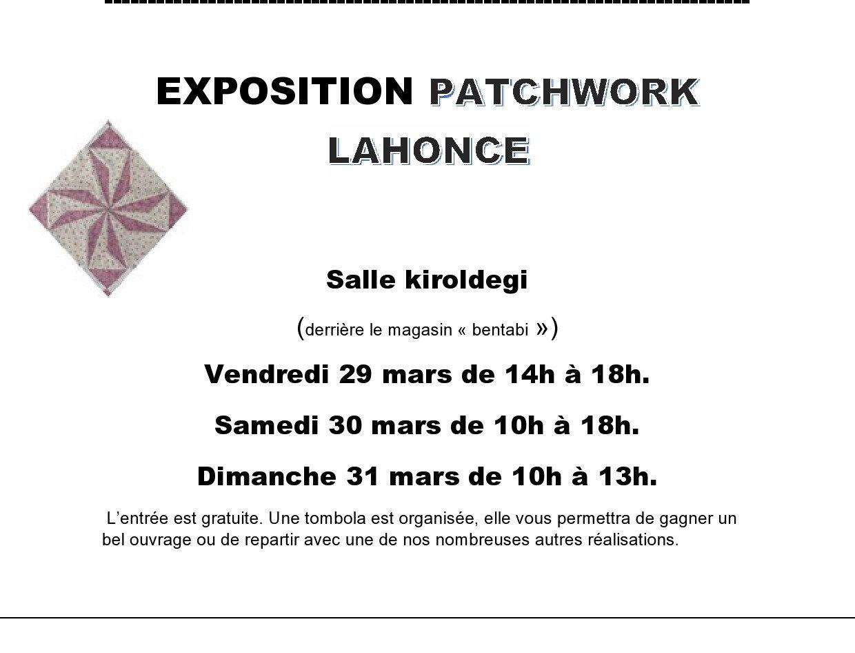 EXPOSITION PATCHWORK LAHONCE DU 29 AU 31 MARS 2019