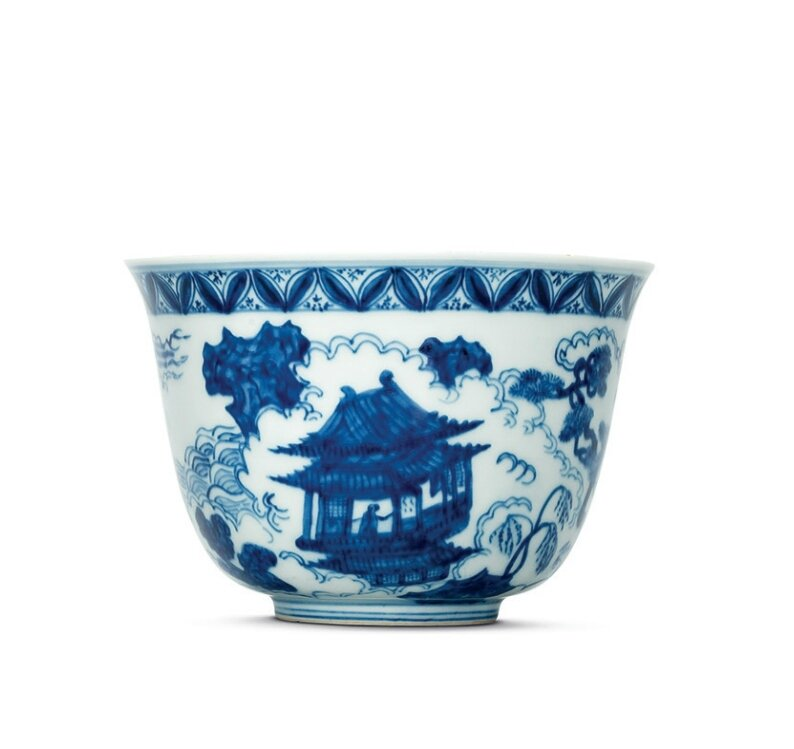 A rare blue and white 'immortals' bowl, Jiajing six-character mark within a double circle and of the period (1522-1566)