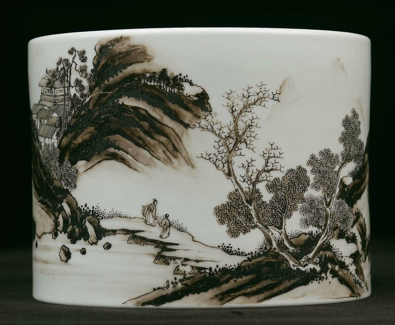 Brush holder with landscape, Chinese, Qing dynasty, Yongzheng period, 1723–36