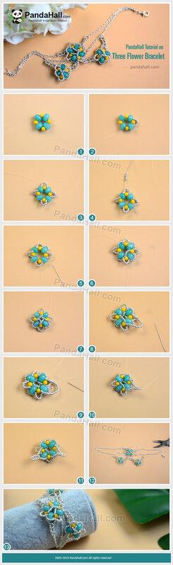 4PandaHall-Tutorial-on-Three-Flower-Bracelet