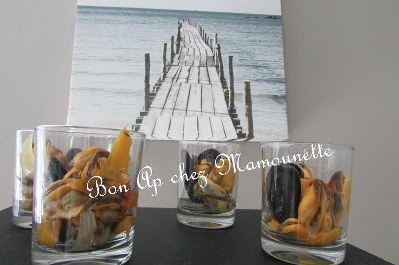 Moules de bouchot du Vivier sur Mer en verrines apéritives 004