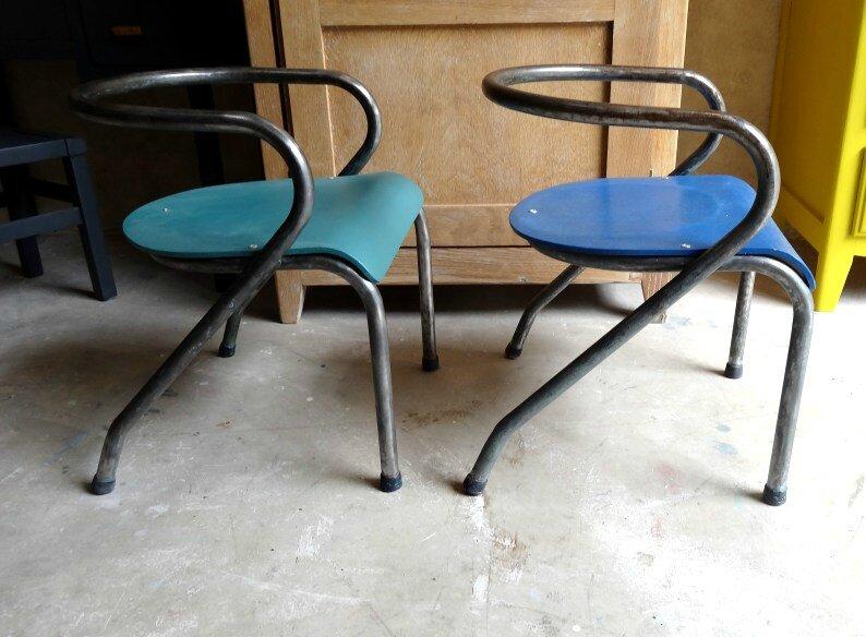paire de chaises ecole vintage