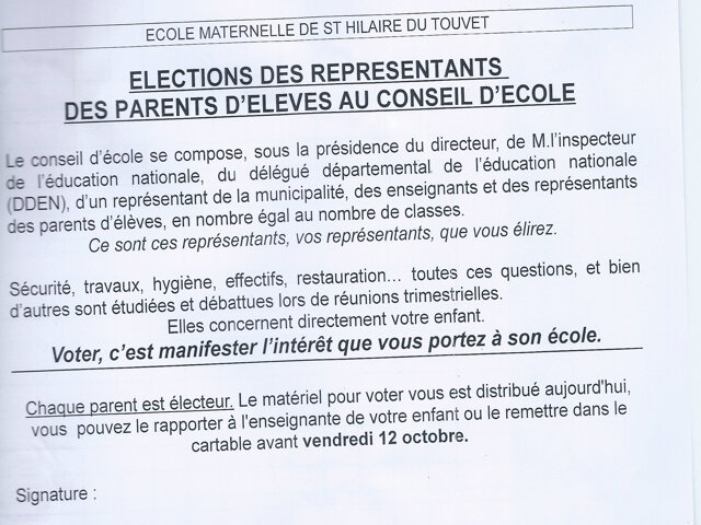 Elections parents